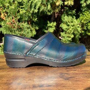 Sanita Professional Danish Blue Silver Stripe Clog  Size EU 39 Size US 8